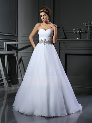 Ball Gown Satin Court Train Sweetheart Sleeveless Beading Wedding Dresses