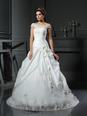 Ball Gown Satin Chapel Train Off-the-Shoulder Sleeveless Hand-Made Flower Wedding Dresses