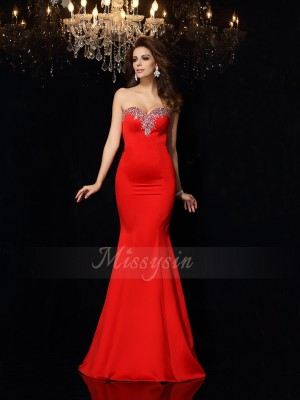 Sheath/Column Satin Court Train Sweetheart Sleeveless Beading Dresses