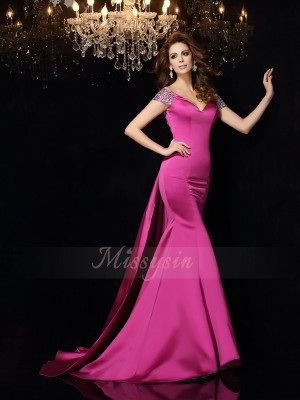 Trumpet/Mermaid Satin Court Train Off-the-Shoulder Sleeveless Beading Dresses