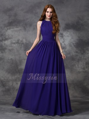 A-line/Princess Sleeveless Jewel Ruched Chiffon Floor-length Bridesmaid Dresses