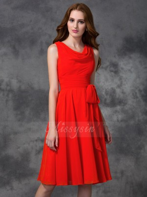A-line/Princess Sleeveless Scoop Ruffles Chiffon Knee-length Bridesmaid Dresses
