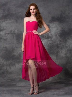 A-line/Princess Sleeveless Sweetheart Beading Chiffon Asymmetrical Bridesmaid Dresses
