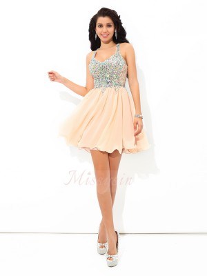 A-Line/Princess Sleeveless Straps Rhinestone Chiffon Short/Mini Cocktail Dresses