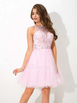 A-Line/Princess Sleeveless Sheer Neck Beading Net Short/Mini Cocktail Dresses