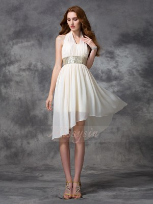 A-line/Princess Sleeveless Halter Sequin Chiffon Asymmetrical Cocktail Dresses