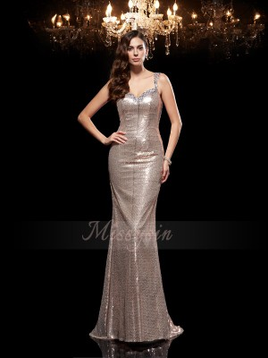 Sheath/Column Sleeveless Straps Beading Sequins Sweep/Brush Train Dresses