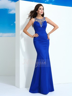 Sheath/Column Sleeveless Sheer Neck Beading Chiffon Floor-Length Dresses
