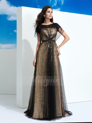 A-Line/Princess Short Sleeves Sheer Neck Paillette Net Floor-Length Dresses