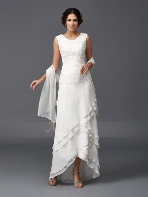 A-Line/Princess Sleeveless Scoop Chiffon Asymmetrical Mother of the Bride Dresses