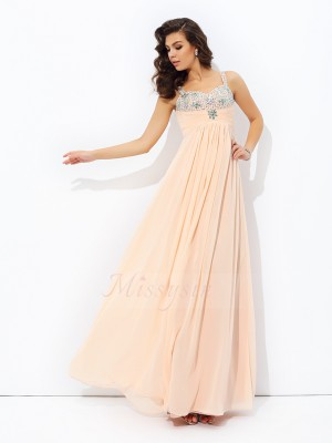 A-line/Princess Sleeveless Spaghetti Straps Beading Chiffon Floor-Length Dresses