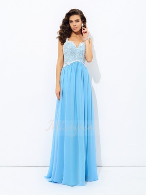 A-Line/Princess Sleeveless V-neck Chiffon Floor-length Dresses
