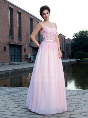 A-Line/Princess Sleeveless Straps Applique Net Floor-Length Dresses