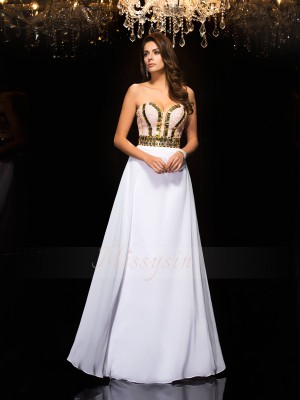 A-Line/Princess Sleeveless Sweetheart Sequin Chiffon Floor-Length Dresses