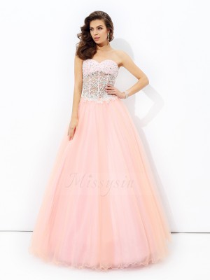 A-line/Princess Sleeveless Sweetheart Net Floor-length Dresses