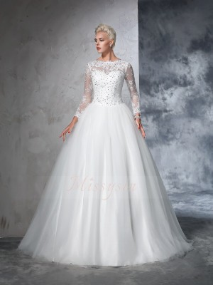 Ball Gown Long Sleeves Bateau Net Sweep/Brush Train Wedding Dresses