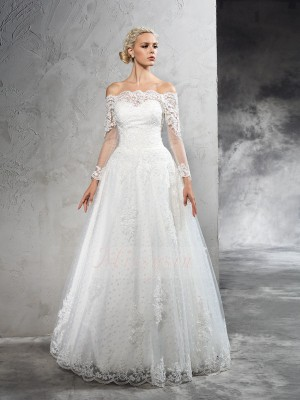 Ball Gown Long Sleeves Off-the-Shoulder Net Floor-Length Wedding Dresses