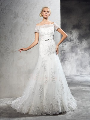Sheath/Column Short Sleeves Off-the-Shoulder Applique Net Court Train Wedding Dresses