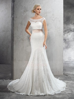 Sheath/Column Sleeveless Sheer Neck Sash/Ribbon/Belt Lace Court Train Wedding Dresses