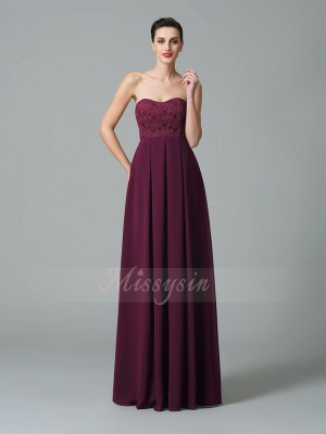 A-Line/Princess Sleeveless Sweetheart Ruffles Chiffon Floor-Length Bridesmaid Dresses