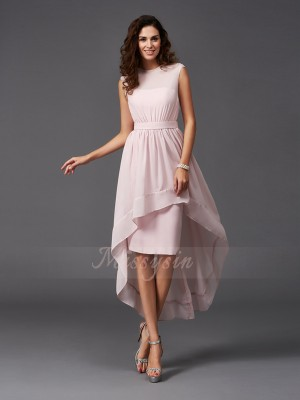 A-Line/Princess Sleeveless Scoop Sash/Ribbon/Belt Chiffon Asymmetrical Bridesmaid Dresses