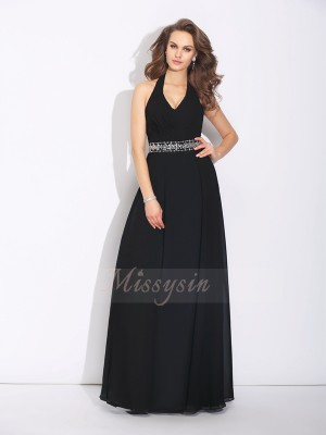 A-Line/Princess Sleeveless Halter Beading Chiffon Floor-Length Bridesmaid Dresses