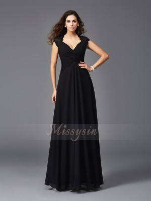 A-Line/Princess Sleeveless V-neck Chiffon Floor-Length Bridesmaid dresses