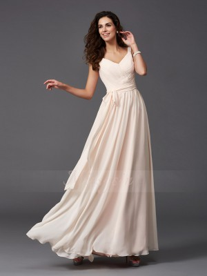 A-Line/Princess Sleeveless Straps Sash/Ribbon/Belt Chiffon Floor-Length Bridesmaid Dresses