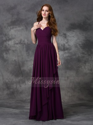 A-line/Princess Sleeveless Spaghetti Straps Ruffles Chiffon Floor-length Bridesmaid Dresses