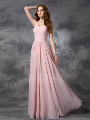 A-line/Princess Sleeveless Sweetheart Ruched Chiffon Floor-length Bridesmaid Dresses