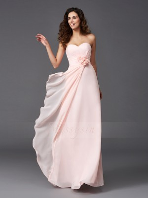 A-Line/Princess Sleeveless Sweetheart Hand-Made Flower Chiffon Floor-Length Bridesmaid Dresses