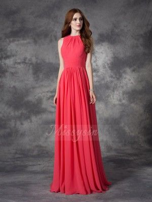 A-line/Princess Sleeveless Jewel Ruffles Chiffon Floor-length Bridesmaid Dresses