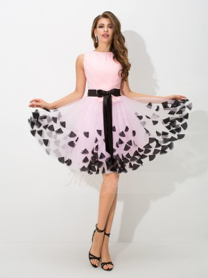 A-Line/Princess Sleeveless High Neck Bowknot Net Short/Mini Cocktail Dresses