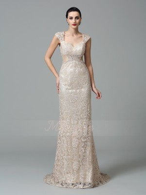 Sheath/Column Sleeveless Straps Lace Sweep/Brush Train Dresses