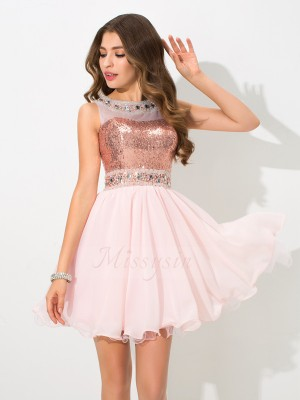 A-Line/Princess Sleeveless Sheer Neck Sequin Chiffon Short/Mini Cocktail Dresses