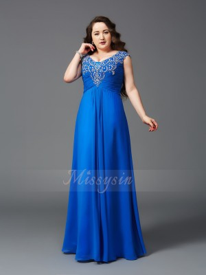 A-Line/Princess Short Sleeves Straps Beading Chiffon Floor-Length Plus Size Dresses