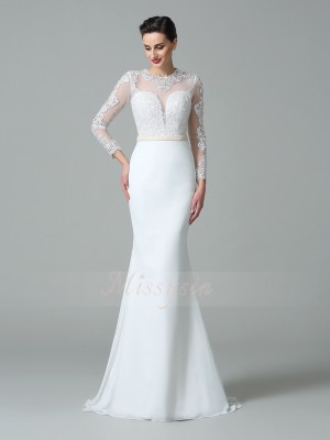 Trumpet/Mermaid Long Sleeves Jewel Satin Sweep/Brush Train Wedding Dresses