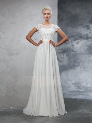 A-Line/Princess Short Sleeves Sheer Neck Applique Chiffon Sweep/Brush Train Wedding Dresses