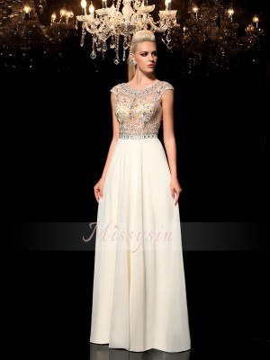 A-Line/Princess Sheer Neck Chiffon Floor-Length Rhinestone Sleeveless Dresses