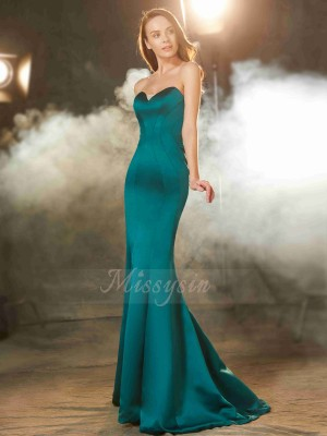 Trumpet/Mermaid Sweep/Brush Train Sweetheart Satin Ruched Sleeveless Dresses