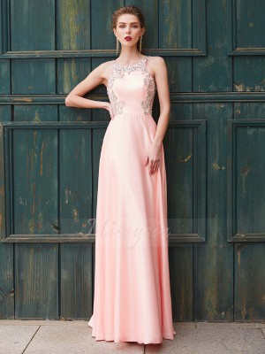 A-Line/Princess Floor-Length Scoop Satin Beading Sleeveless Dresses