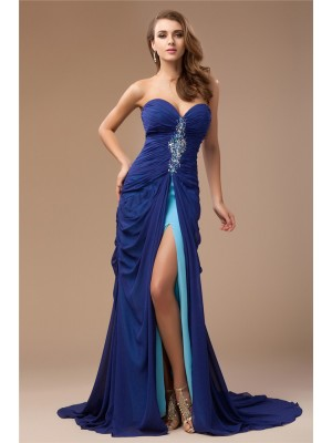 Sheath/Column Sweetheart Sleeveless Beading Sweep/Brush Train Chiffon Dresses