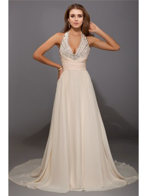 Sheath/Column V-neck Sleeveless Beading Sweep/Brush Train Chiffon Dresses