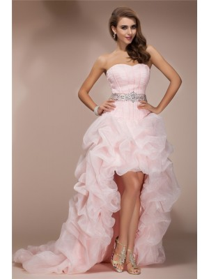 A-Line/Princess Sweetheart Sleeveless Beading Asymmetrical Organza Dresses