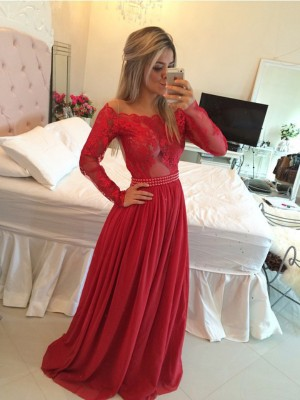 A-Line/Princess Long Sleeves Off-the-Shoulder Chiffon Applique Sweep/Brush Train Dresses