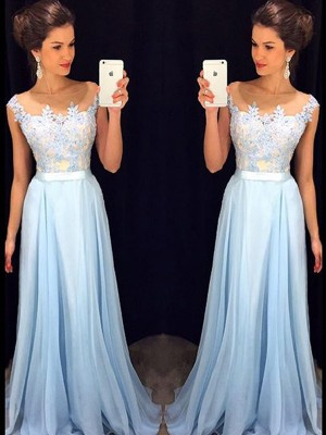 A-Line/Princess Sleeveless Sheer Neck Chiffon Applique Sweep/Brush Train Dresses