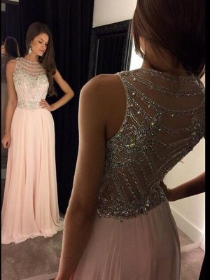 A-Line/Princess Sleeveless Scoop Chiffon Crystal Floor-Length Dresses