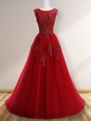 A-Line/Princess Sleeveless Scoop Tulle Applique Sweep/Brush Train Dresses