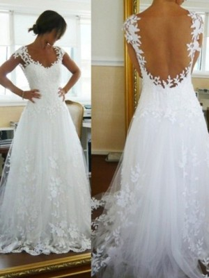 A-Line/Princess V-neck Sleeveless Tulle Sweep/Brush Train Wedding Dresses