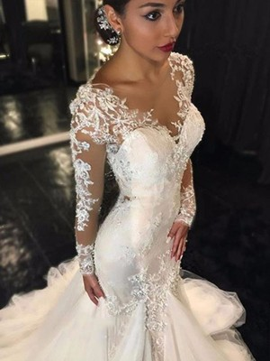 Trumpet/Mermaid V-neck Long Sleeves Tulle Court Train Wedding Dresses